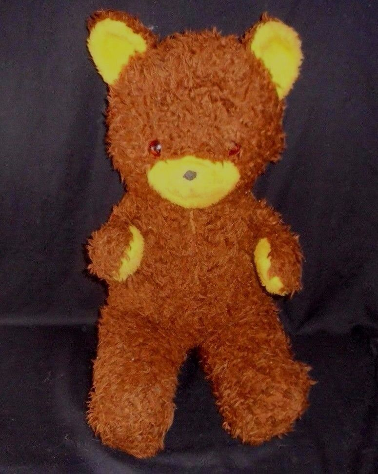 21  VINTAGE BROWN TEDDY BEAR YELLOW NOSE & EARS STUFFED ANIMAL PLUSH OLD TOY