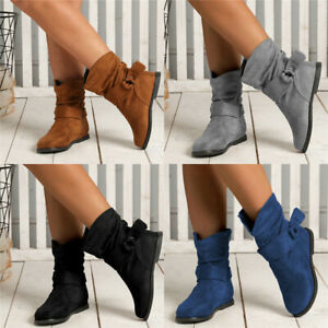 Ladies-Women-Faux-Suede-Wide-Ankle-Boots-Casual-Slouch-Flat-Boots-Zip-Shoes-Size