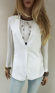 Marccain Blazer 36 Veste Femme Blanc S Polyester N2 EXqT5Tw
