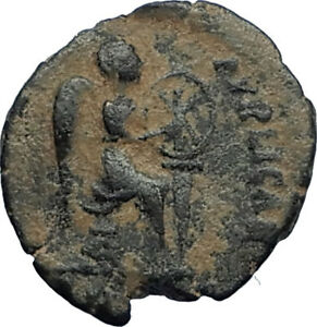 EUDOXIA-Arcadius-Wife-401AD-Authentic-Ancient-Roman-Coin-VICTORY-CHI-RHO-i67729
