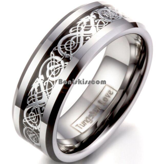 8mm Tungsten Carbide Silver Dragon Celtic Scroll Inlay Ring Men's Wedding Band