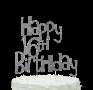 Cool Happy 16Th Birthday Cake Topper Glittery Silver Ebay Personalised Birthday Cards Veneteletsinfo