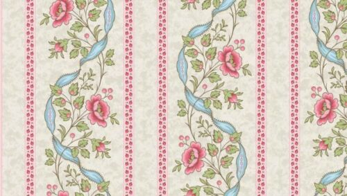 Tela 100/% algodón MAKOWER UK 2//7780L Arbor rosa raya fronteriza