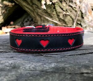 HAND-MADE-PINK-LEATHER-DOG-COLLAR-GIRL-SOFT-PRETTY-CUTE-HEARTS-MEDIUM-TERRIER