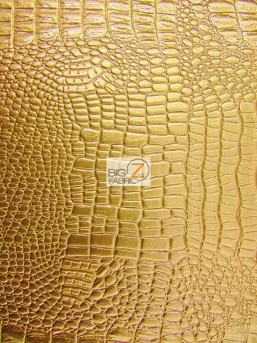 "54/"" SOLD BTY VINYL PLEATHER EMBOSSED SHINY AMAZON CROCODILE FABRIC Gold"