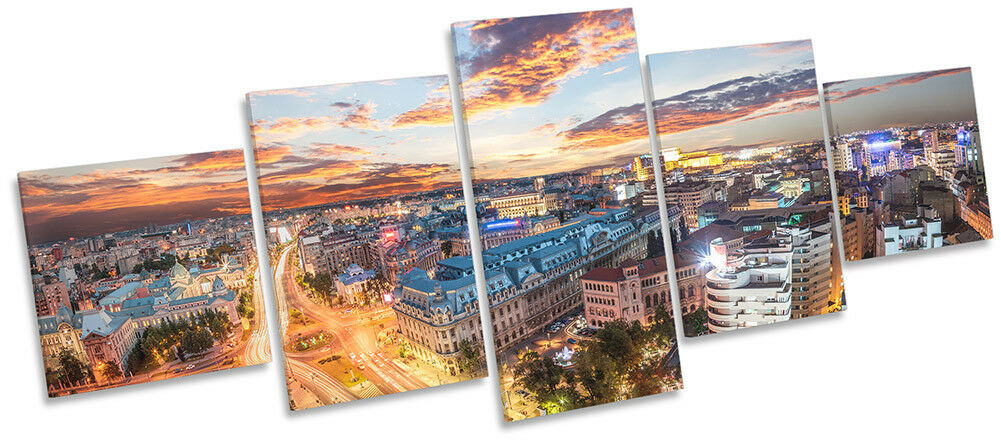Romania City Skyline Picture CANVAS WALL ART Five Panel