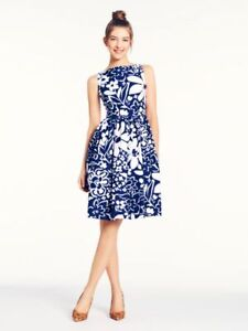 8ee06d34346 KATE SPADE Tanner Monaco Floral White Blue Dress NWT NEW Size 2 ...