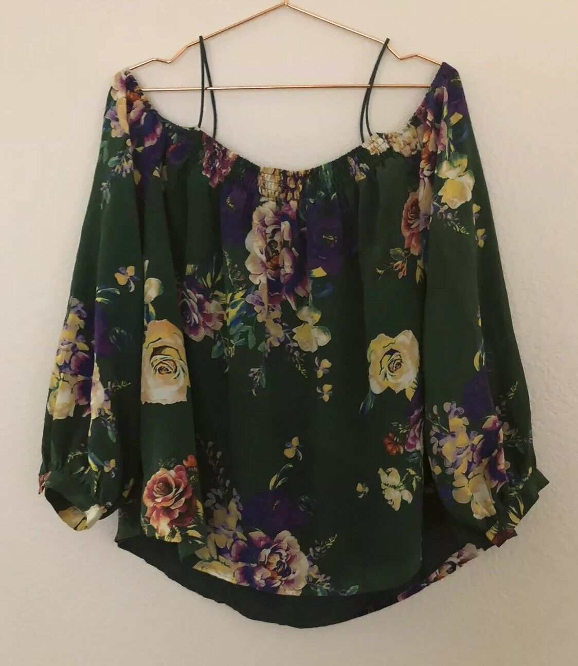 Maeve Tallie Grün Floral Open-Shoulder Silk Blouse  Sz L Anthro
