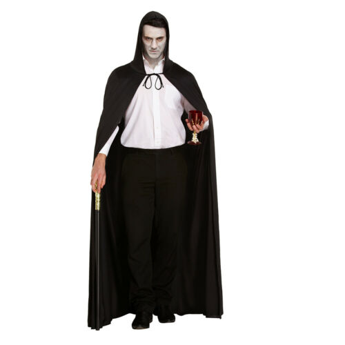Messieurs Velours Velvet Vampire Cape Avec Capuchon sorcières Longue Cape Halloween Mardi Gras