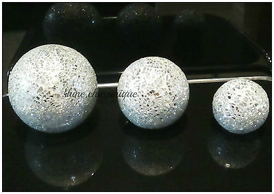 CRACKLE SILVER MIRROR MOSAIC SET OF 3 DECORATIVE BALL ORNAMENTS SHABBY CHIC