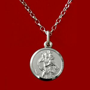Solid-Sterling-Silver-St-Saint-Christopher-Pendant-Chain-18-034-Necklace-amp-Gift-Box