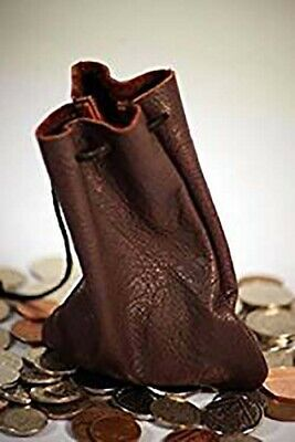 2019 Ultimo Disegno Medievale/larp/monete/gioco/dadi Soldi In Pelle Marrone Cioccolato Pouch-cordino-coin/gaming/dice Chocolate Brown Leather Money Pouch-drawstring It-it