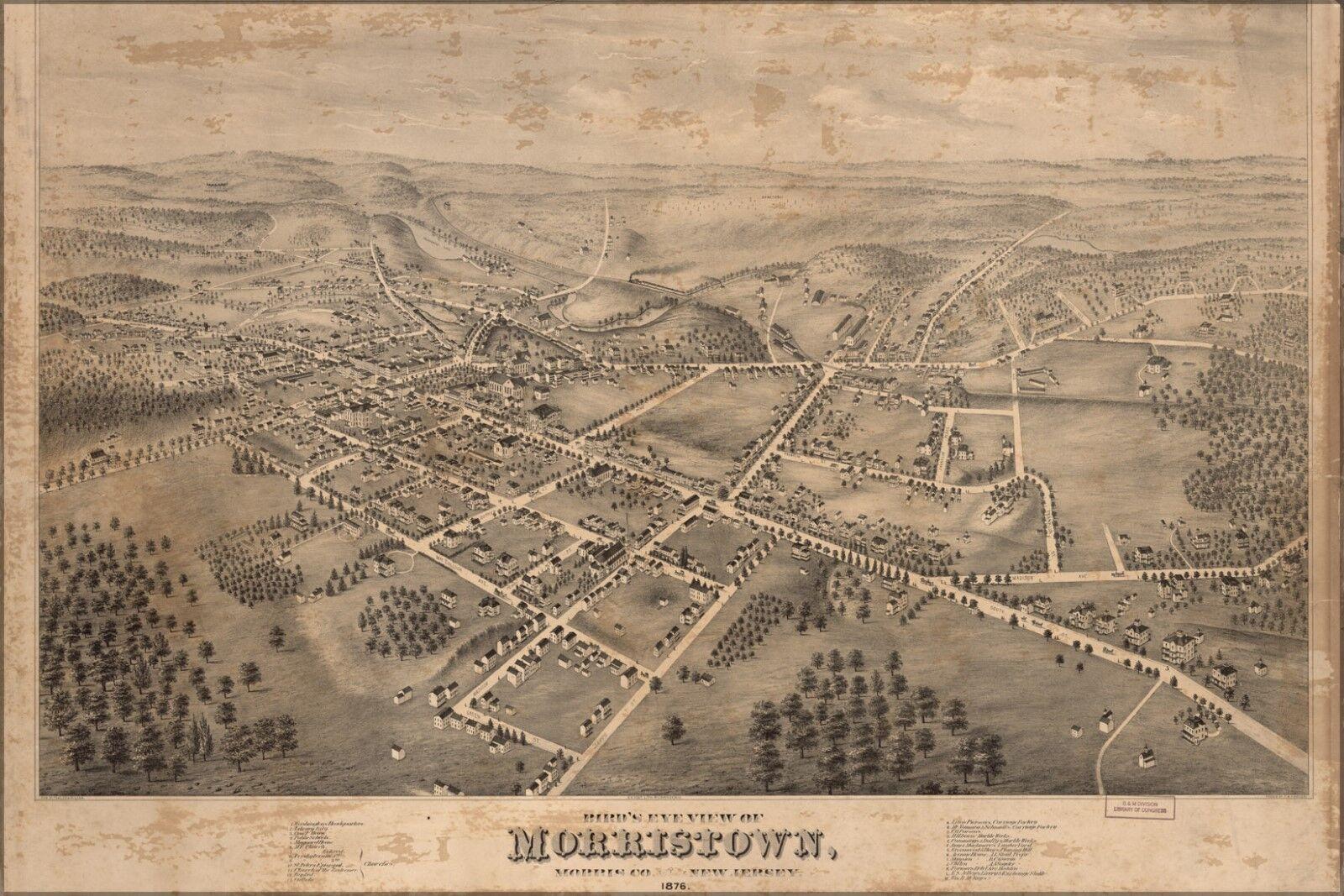 Poster, Molte Misure; Birdseye Vista Mappa Del Morristown, New Jersey 1876