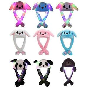 Plush-Glow-Rabbit-Ear-Hat-Pinch-The-Paw-Ears-Will-Move-Airbag-Cap-Toys-For-Kids