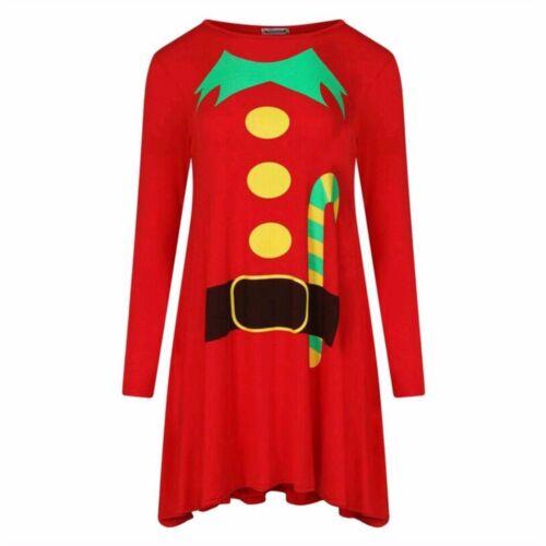 Women Ladies ELF Santa Print Xmas Christmas Swing Skater Costume Prosecco Dress