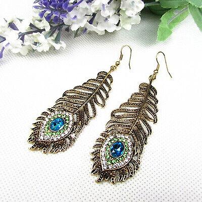 Vintage Women Rhinestone Peacock Eye Feather Dangle Hook Earrings Gift Dainty