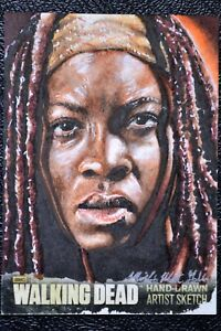 Walking-Dead-Season-3-Michonne-Sketch-Art-by-Mick-amp-Matt-Glebe-Trading-Card