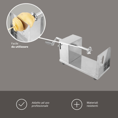 Taglia Chips Professionale In Acciaio Inox Affetta Patate a Spirale Ricciolo