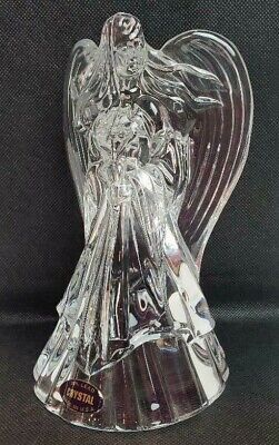 Vintage USA Crystal Cristal 24/% Lead Clear Glass Angel Candle Holder Figurine