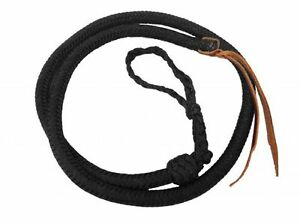 Western-Horse-Barrel-Racing-Over-and-Under-Braided-Black-Nylon-Quirt-Whip