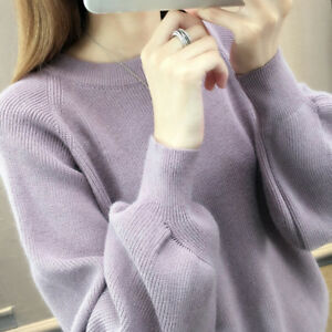 Women-Knit-Sweater-Shirt-Pullover-Jumper-Puff-Sleeve-Crew-Neck-Tunic-Tops-BCHP