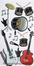 Artoz Artwork 3D-Sticker, Musikinstrumente modern, Schlagzeug, Gitarre