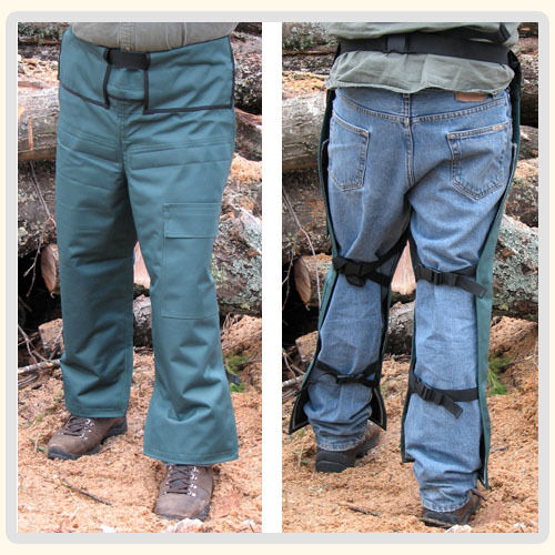 Adjustable Chainsaw Chaps Protective, Safety (green)