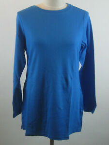 Isaac-Mizrahi-Essentials-Long-Sleeve-Knit-Tunic-Top-M-Pacific-Blue-NEW-A256464