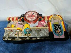 Vintage-COCA-COLA-DINER-WALL-CLOCK-Fountain-Soda-Ice-Cream-Parlor-Jukebox