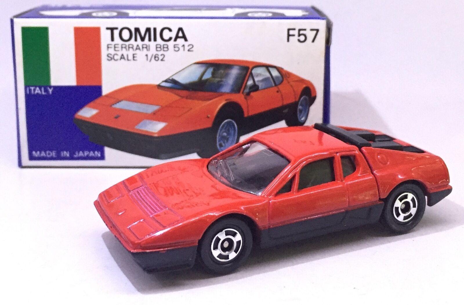Hecho En Japón Tomy Tomica F57 Ferrari BB 512 Rojo 1/62 automóvil de fundición Raro Limitado