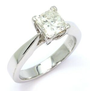 1-01ct-Princess-Cut-Diamond-18ct-White-Gold-Engagement-Ring-Size-I