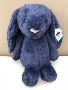 NEW-Jellycat-Medium-Navy-Bashful-Bunny-Rabbit-Soft-Toy-Comforter-Blue-Baby-BNWT