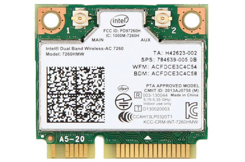 New Intel Dual Band Wireless 7260AC 7260HMW Half Mini PCIe PCIexpress Wifi Card