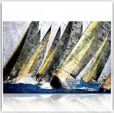 Segelboot Sport Meer BILDER LEINWAND ABSTRAKT KUNST WANDBILD  XXL 334A