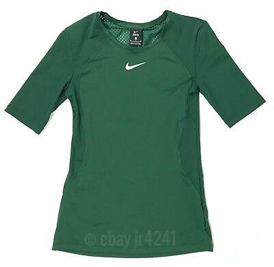100% Vero Nuovo Nike Pro Hypercool Ss Maglia Allenamento Rete Verde Posteriore Donna M