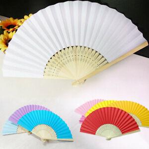 Chinese Style Hand Held Fan Blank Silk Cloth Bamboo Folding Craft DIY Decor
