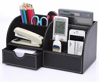 Modern 5-Slot Wooden Leather Pens Mobiles Box Desk Stationery Organizer Case