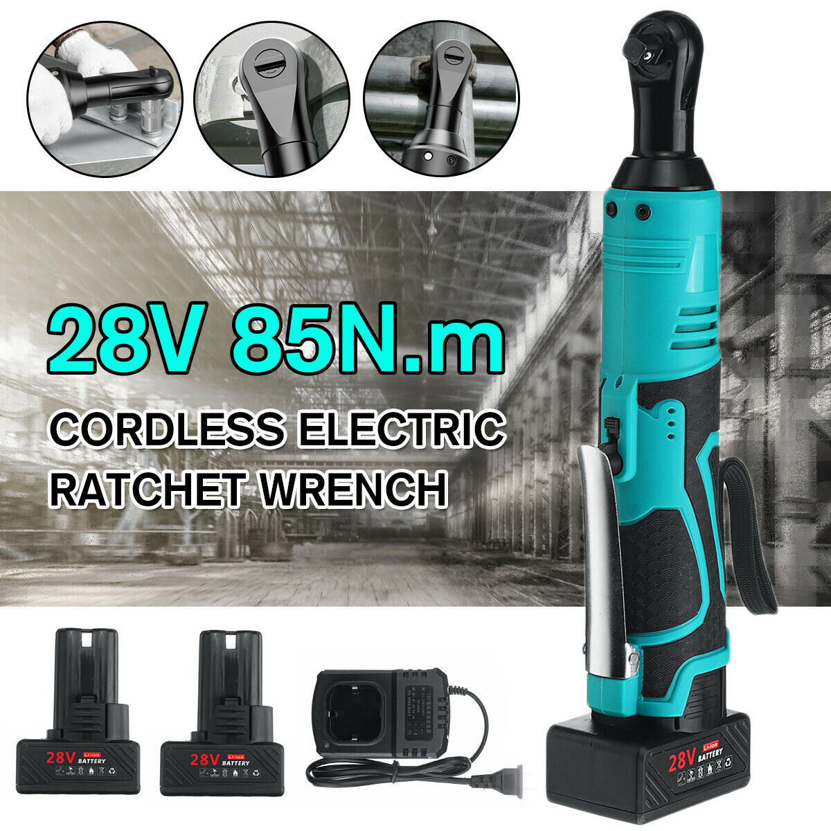 18 28V 60 85N.m 3 8'' Electric Cordless Ratchet Right Angle Wrench Tool   )
