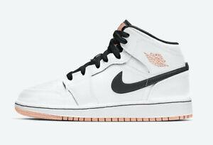 NEW Nike Air Jordan 1 Mid GS 'White Arctic Orange' ALL SIZES 554725-180