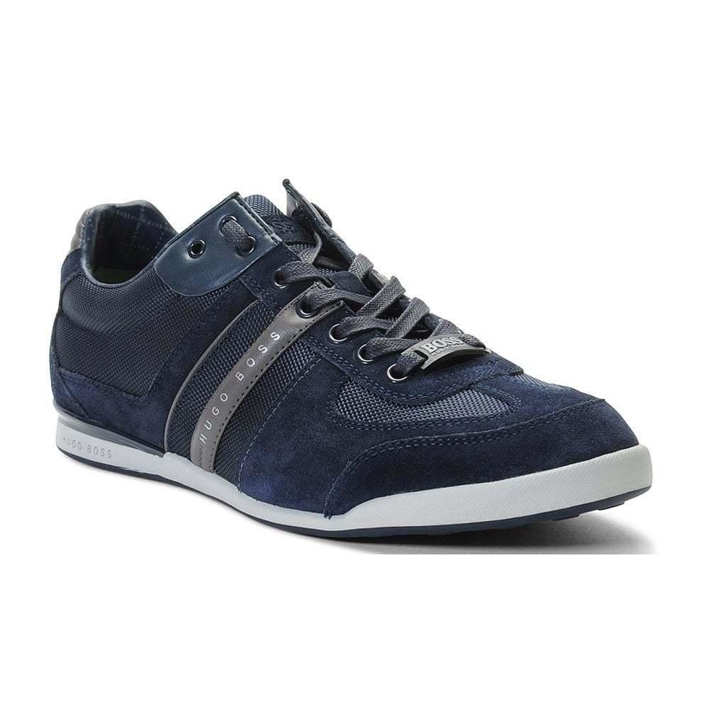 Hugo Boss Footwear Green Akeen Suede Blau Trainer