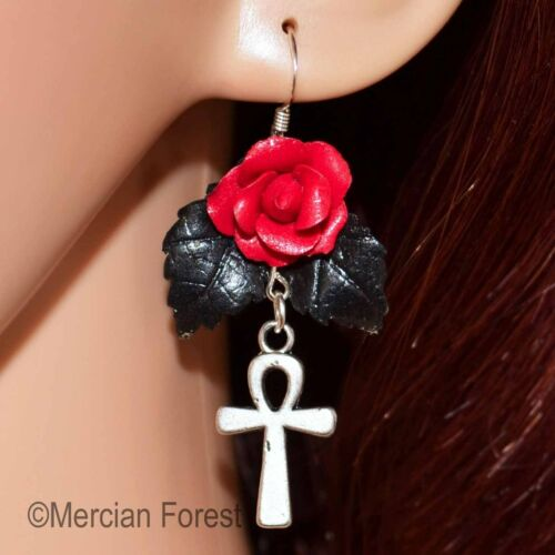 Sanguine Rose Earrings Choice of Charms Witch Wicca Goth Gothic Jewellery