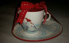 Starbucks 2007 Christmas Holiday Coffee Mug Plate Set White with Snowman Penguin