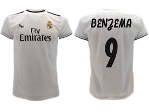 newest ae84b bd778 Details about Shirt Real Madrid Benzema 2019 Official Uniform 2018 Karim 9  Home Bianca