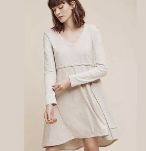 Anthropologie Maeve Northward Gray Cotton-Linen Pa