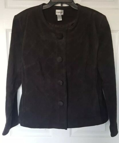Sz Gorgeous Suede Snap Lined Brown Chico's Jacket Nwot Real 2 Dark Front q5S4tHx
