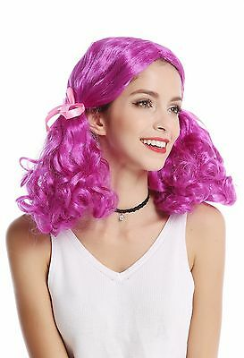Wig Ladies Carnival Purple Girly Lolita 2 Curly Bushy Pigtails Centre Parting