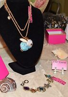 3PC BETSEY JOHNSON STUNNING CRYSTAL BUNNY NECKLACE MATCHING EARRINGS BRACELET