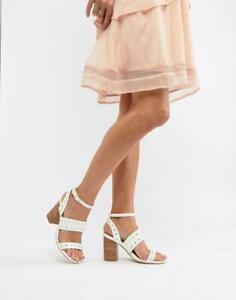 RRP-45-Womens-Ladies-Ankle-Strap-Studded-Sandals-Block-Heel-Shoes-White-Sz-3-8