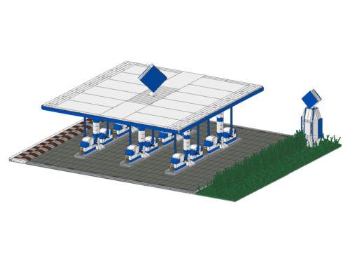 Bauanleitung instruction Tankstelle Modular Eigenbau Unikat Moc aus Lego Basic
