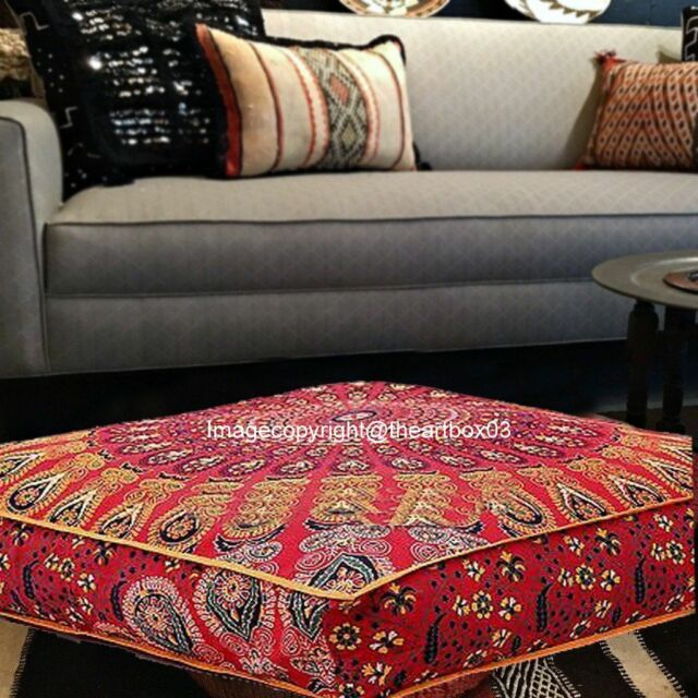 buy online da133 be23e Indian Mandala Large Square Floor Ottoman Pouf Cushion Pillow Cover Pet Dog  Bed